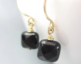Petite Black Gemstone Earrings in 14K Gold Filled Small Square Onyx Dangle