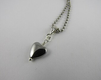 Hematite Heart Necklace, Stainless Steel chain necklace, Silver chain necklace