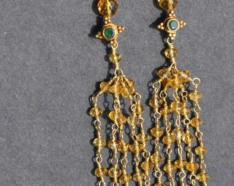 22k Citrine Chandelier Earrings