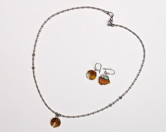 Necklace and earrings sea glass ensemble «Beautiful Mist»