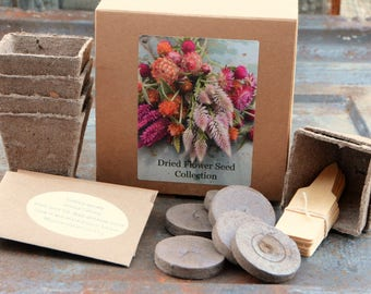 DIY Dried Flower Collection, Heirloom Flower Seeds, Garden Gift Set, Gifts Under 25, Seeds for Dried Flowers, Great Gift for Mom or Hostess