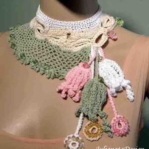 Sale - ELEGANT FREEFORM NECKLACE - Vintage Inspired, Fiber Art Jewelry, Old Irish Lace Motif, Handcrafted Textile Embellishments