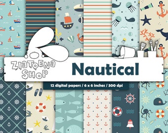 Nautical digital paper pack Digital Paper Nautical Nautical Patterns Navy Digital Paper Nautical Digital Background Sea Anchor Marines Ship