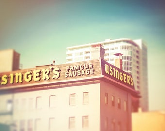 Usinger's, Famous Sausage, Downtown Milwaukee, Milwaukee Decor, Street Photography, Office Decor, Home Decor, Wisconsin, Riverwalk