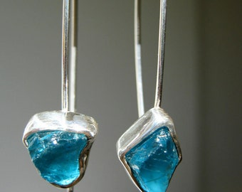 Dangle Rough Teal Blue Apatite Earrings - Sterling Silver - Handmade by Metalmorphoz - FREE SHIPPING to US and Canada!