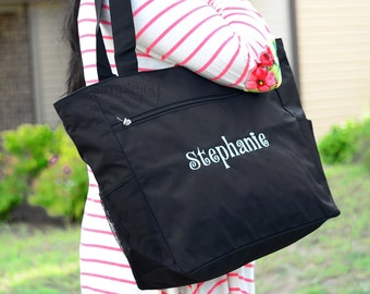 Personalized Tote Bag, Black Tote Bag, Embroidered Bag, Monogrammed Bag, Canvas Tote, Bridesmaid Gift, Gift For Her, Gift For Mom