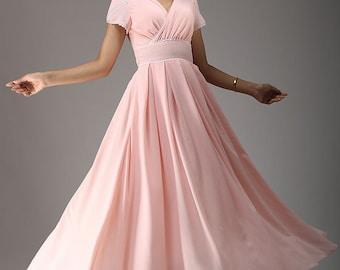 bridesmaid dress, pink dress, maxi dress, chiffon dress with petal sleeve, empire waist dress, evening dress, handmade dress (638)
