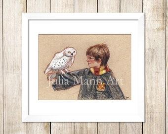 Harry Potter and Hedwig Print, Harry Potter, Hedwig, Harry Potter Drawing, Harry Potter Art, Ready to Frame, Unframed Art Print,