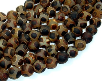 Matte Tibetan Agate Beads, 10mm Round Beads, 15 Inch, Full strand, Approx 37 beads, Hole 1mm, A quality (122054215)