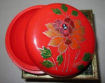 Vintage Pill Box in Red with Flowers by Sarsaparilla ~ Style # 2 Red
