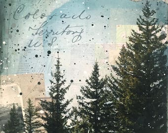 Through The Trees No. 1 | Original Mixed Media Painting | Rustic Mountain Art | Nature Art | Mixed Media Art | New England | Collage