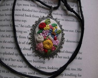 Embroidered Necklace Pendant, Embroidered Jewelry, Boho necklace, Unique Jewelry, Flower Jewelry