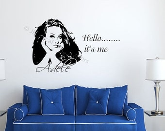 5% OFF Adele Hello it's Me Celebrity Wall Decal Adele wall Stickers Removable Vinyl poster
