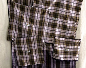 Photographer's Kit, Set of Four lens wraps, plus damp proof Ground Cover Sheet, Purple Batik, Black fleece lining