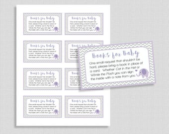 Purple Elephant Books For Baby, Lilac & Grey Chevron Invite Insert, Neutral, DIY Printable, INSTANT DOWNLOAD
