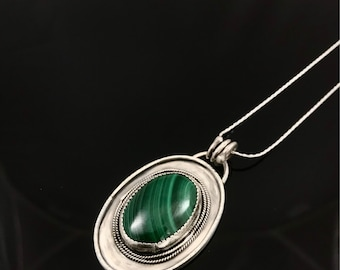 Elegant Sterling Silver Malachite Pendant; Artisan Bohemian Malachite Sterling Silver Pendant