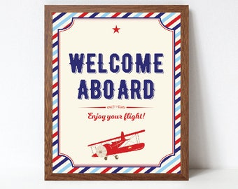 Airplane Welcome Aboard Sign, Airplane Welcome Sign, Airplane Baby Shower Welcome Sign, Printable, INSTANT DOWNLOAD