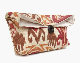Brown, Copper, and Red Ikat Clutch Purse, Bridesmaid Gift, Travel Makeup Bag, Gift for Her, Mom, Girlfriend, Wife