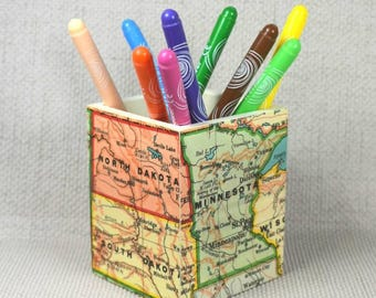 Custom USA Map Pencil Pot, Wanderlust Gift, Mothers Day, Make Up Pot, Pencil Holder, Desk Storage, Desk Tidy, Map Gift, Free Gift Wrapping