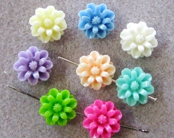 Small Drilled Resin Mum Flower Beads With Hole 12mm Small Choose Your Colors 913D