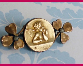 Vintage  French Raphael ANGEL Brooche Clover Leaves & faux Pearls