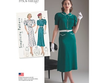 Simplicity Sewing Pattern 8248 Misses' Vintage 1930's Dresses