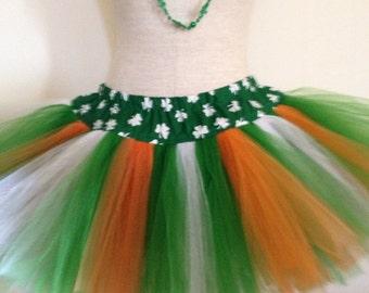 Adult Tutu Fluffy Girl Plus-Size St. Patrick's Day Irish Flag Parade TuTu