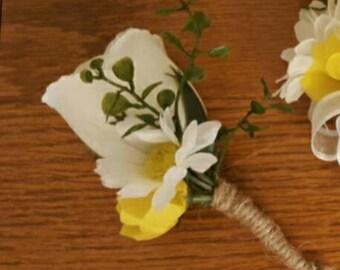 Yellow Boutonniere, Yellow Wedding Flowera, Groomsman Boutonniere, Yellow Wedding, Spring Wedding, Prom Boutonniere, White Rose Boutonniere
