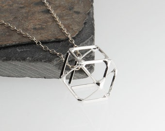Architecture Structure Necklace, Geometric Necklace, Minimal Jewelry Geometric Necklace, Silver Jewelry, Geometric Jewelry, Gift for Her