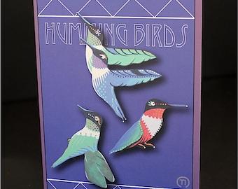 "Humming Birds 4.25"" x 6"" Blank Greeting Card"