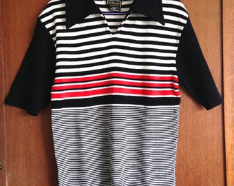 "New Vintage 1970s DeadStock mens open v neck polo shirt wide collar top black red stripe smart casual menswear size 38 chest 33"" or 34"" mod"