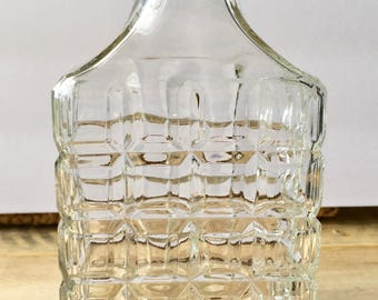 Vintage Glass Decanter Cut Glass - Clear