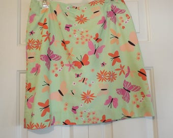 1990s Lilly Pulitzer Skirt Spring Women's Fashion Size 8 With Butterflies and Flowers