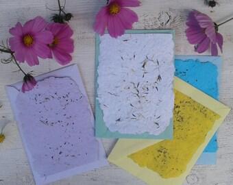 Handmade flower Paper with envelopes flower seeds plantable note paper seed paper plantable invitation lavender seeds seed embedded paper
