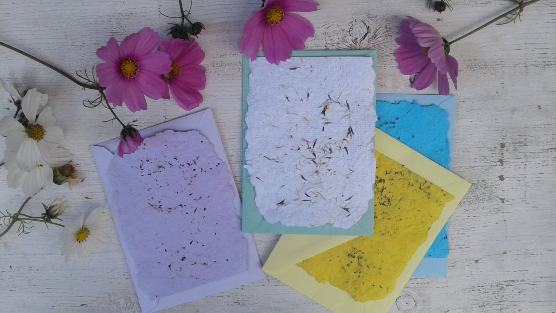 Handmade flower paper with envelopes flower seeds plantable zoom mightylinksfo