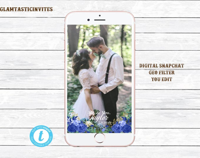 Floral Wedding Snapchat Geofilter, Editable, DIY Snap Chat Filter, Bridal Shower Baby Shower Birthday, Mr. & Mrs. Snapchat, Rustic, Floral