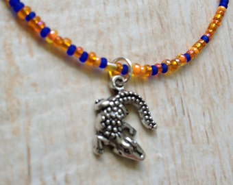 Alligator Necklace Glass Seed Beads Team Spirit High School Colors Game Day Accessory College Sports Fan Orange and Blue University Florida