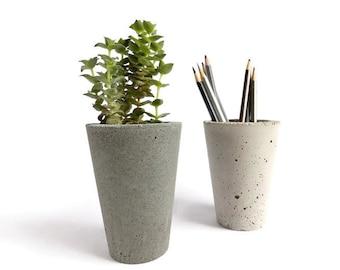 urban Modern Concrete gray pencil holder Planter home decor minimalist simple design