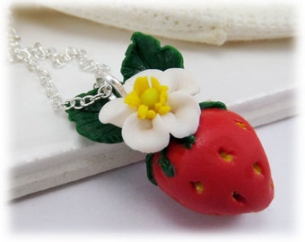 Strawberry Necklace - Strawberry Fruit Jewelry Silver Gold or Antique Brass, Fruit Necklace, Food Jewelry, Strawberry Charm