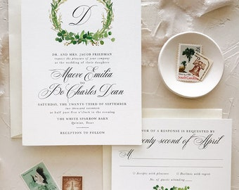 Eucalyptus Wedding Invitation Suite, Spring Greenery Wedding