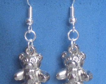 TEDDY BEAR 3-D solid charm with .925 Sterling SILVER hooks pierced earrings Handcrafted