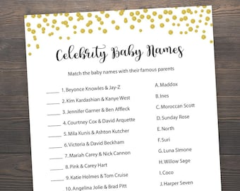 Gold Baby shower games, Celebrity baby name game, Baby shower games, Gold baby shower, Printable baby shower, Celebrity baby names, S007