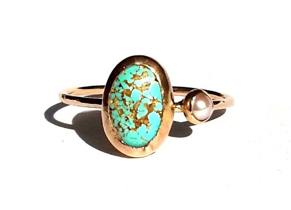 Gold Turquoise Ring 14k Solid Rose Gold Ring Turquoise