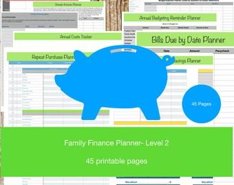 Blank Family Finance Planner Workbook Level 2/ Budget/ Monthly Planner/ Money Organizer/ Planner Budget/ Debt Payoff/ Finance