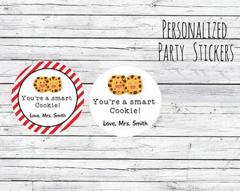 Personalized Back To School Stickers First Day of School Stickers, You're a Smart Cookie. Happy 1st Day of School!