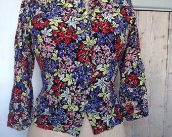1940s floral crepe jacket