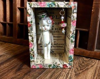 Kewpie Doll Art, Assemblage Art, Little Queen, Vintage Assemblage, Mixed Media Assemblage Doll