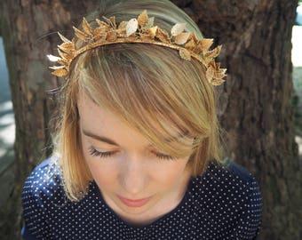 BRIDAL crown TIARA headband HEADPIECE crystal gold leaves metal greek halo wedding bride accessories halo art deco silver
