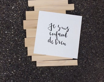 I am a Child of God  |  French  | Watercolor Print  |  Calligraphy