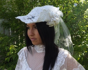 Wedding Hat Bridal Bride Vintage 80s 1980s Fancy Randi Lyn